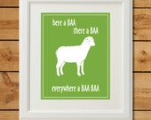 Sheep Nursery Art - Digital Art Print - Everywhere a Baa Baa