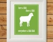 Sheep Nursery Art - Digital Art Print - Everywhere a Baa Baa