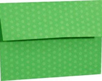 Green Polka Dot Envelopes - A7 Envelopes - Set of 25 Envelopes - Perfect for 5x7 Announcements or Cards - 5x7 Envelopes - Green Envelopes