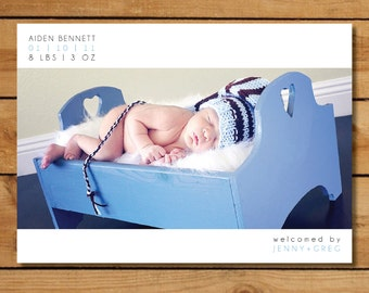 Baby Boy Birth Announcement Photo Card - Clean