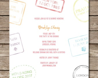 Passport Stamp Bridal Shower Invitation - Perfect for Travel or Honeymoon Theme - Custom