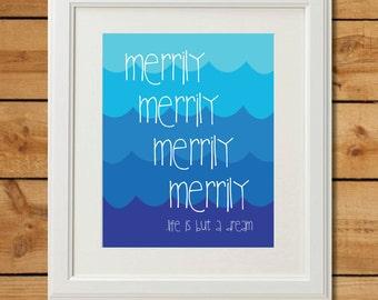 Nautical Nursery Wall Art - Row Row Row Your Boat - Printable Nursery Art - Life is But a Dream - Gender Neutral Nursery Decor