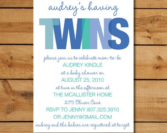 Twin Boys Baby Shower Invitation - TWINS