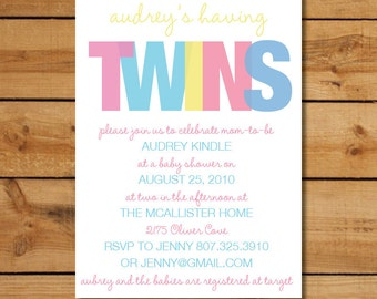 Twin Baby Shower Invitations - Boy Girl