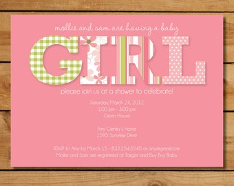 Girl Baby Shower Invitation - Pink and Green