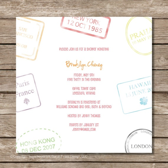 Passport Stamp Bridal Shower Invitation Perfect by ...