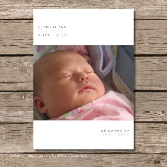 Photo Birth Announcement Baby Girl - Simply Modern