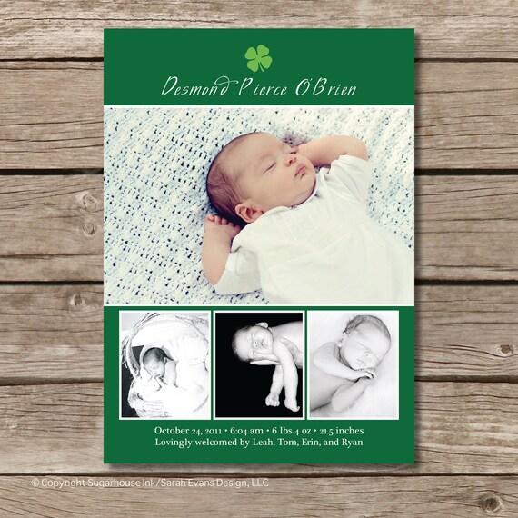 Irish Baby Announcement - Custom Photo Baby Announcement
