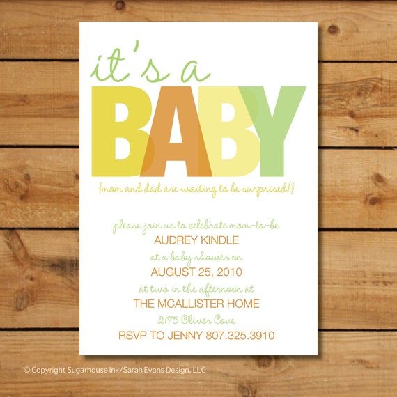 Gender Neutral Baby Shower Invitations - It's A... Baby