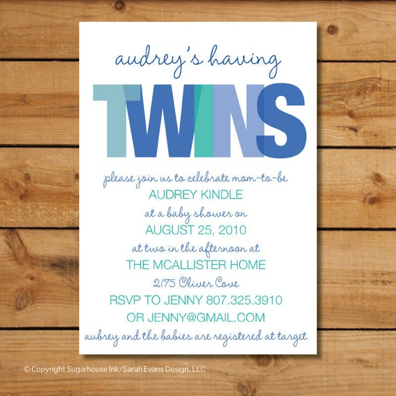 Baby Shower Invitations Wording For Boys: Twin Boys Baby Shower Invitation TWINS