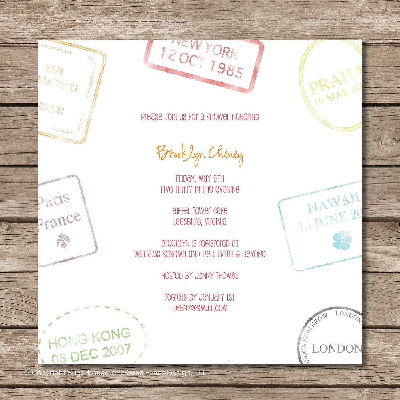 Passport Stamp Bridal Shower Invitation Perfect by sugarhouseink