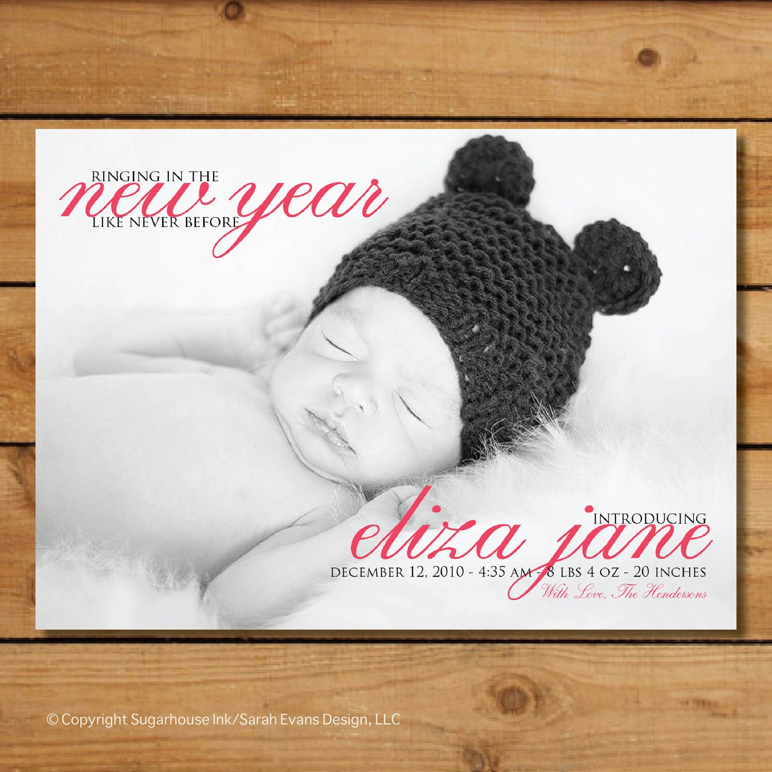 New Years Birth Announcement Ringing In The New Year – New Baby Born Announcement