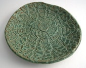 Blue Green 6.5 inch Stoneware Dish with Vintage Doily Imprint