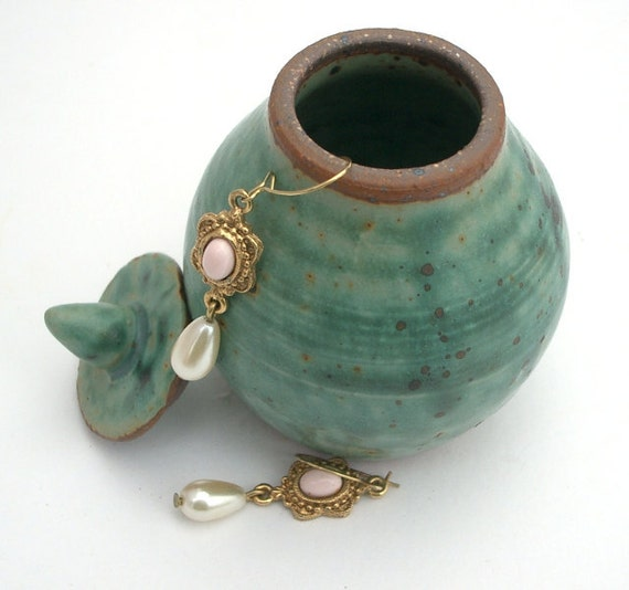 Tiny Lidded Blue Green Jar