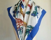 Blue Berries and Birds Signed Silk Scarf FREE USA Shipping