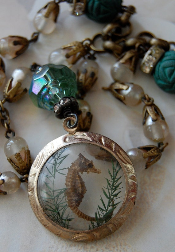 RESERVED Seahorse-antique vintage real seahorse assemblage necklace