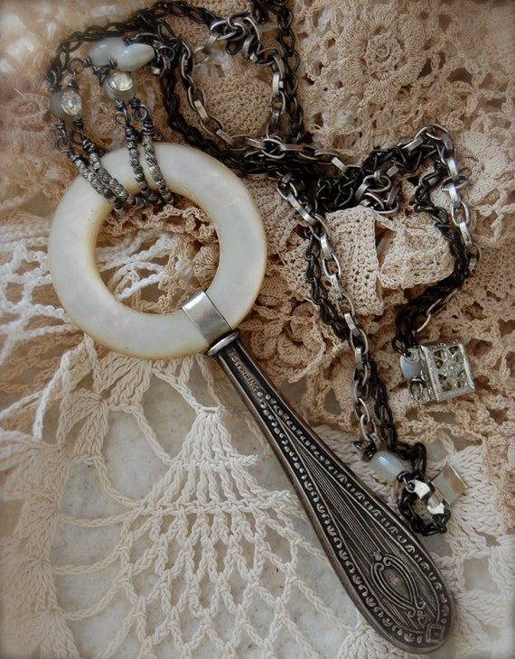 A Small Comfort-antique vintage mother of pearl teething ring assemblage necklace