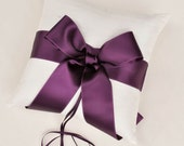 Purple and Ivory Silk Dupioni Ring Bearer Pillow