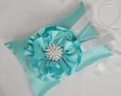 Tiffany Blue Satin Wedding Ring Bearer Pillow with Pearls - Satin Flower Ring Bearer Pillow