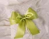 Ivory and Lime Green Wedding Ring Bearer Pillow - Alencon Lace Ring Bearer Pillow