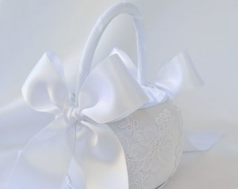 White Flower Girl Basket - White Alencon Lace Flower Girl Basket