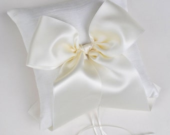 Ivory Ring Bearer Pillow - Silk Wedding Ring Bearer Pillow - READY TO SHIP