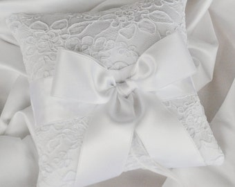 White Ring Bearer Pillow - White Alencon Lace Ring Bearer Pillow