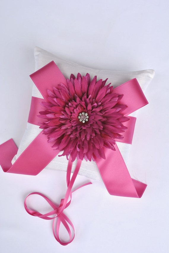 Fuchsia Pink Ring Bearer Pillow - Wedding Ring Bearer Pillow - SALE - Ready to Ship