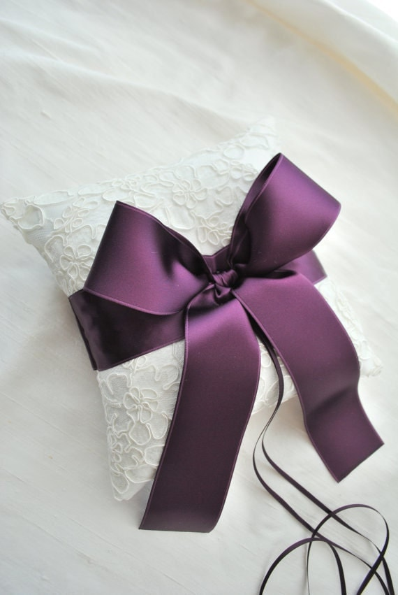 Ivory and Purple Alencon Lace Ring Bearer Pillow
