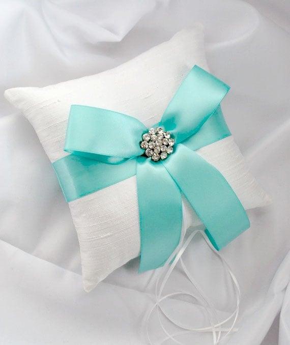 Aqua Wedding Ring Bearer Pillow - White or Ivory Silk Ring Bearer Pillow with Aqua Blue Satin Ribbon