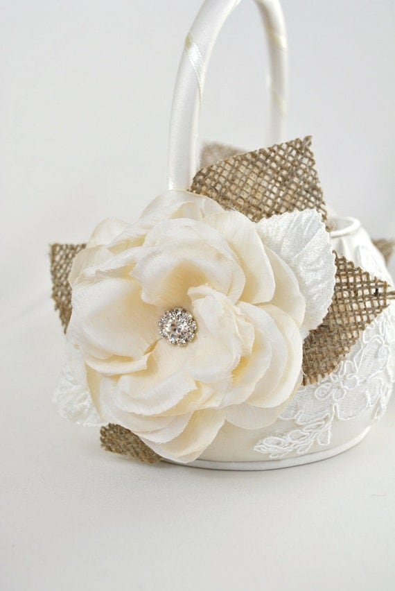 Flower Girl Baskets Ivory Uk : Items similar to ivory flower girl basket burlap wedding