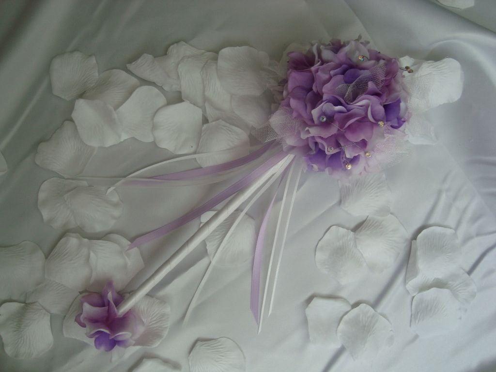 Elegant Purple Hydrangea Flower Girl Wand By Weddingsandsuch