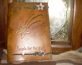 Reach For The Stars--Genuine Leather Journal Cover