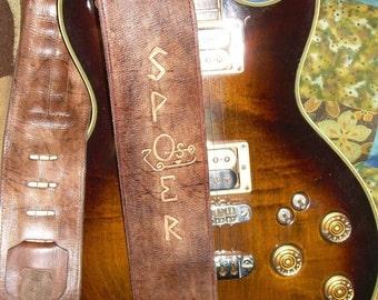 "Custom Genuine Leather Guitar Strap Handmade ""The Mikey Strap"""