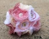 SALE - Romantic Tea Party Organza and Button Bouquet