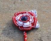 Red White and Blue Felt Button Boutonniere