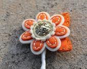 Orange and Ivory Felt Button Boutonniere