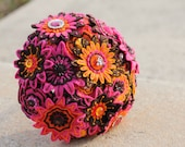 SALE: Pink Brown and Orange Felt Embroidered Bridal Bouquet
