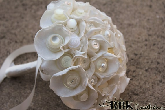 Ivory Bride Bouquet in Satin Organza and Buttons