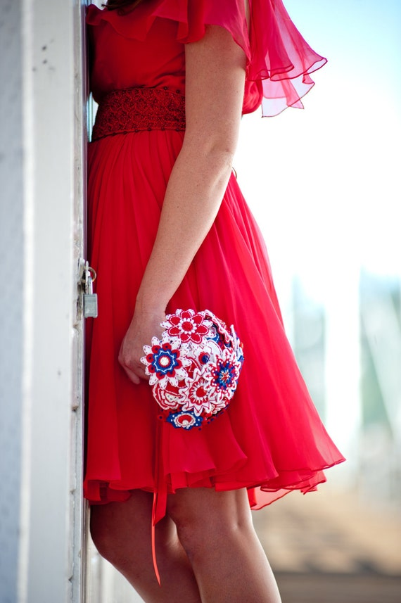 SALE - All American Red White and Blue Felt Button Bouquet