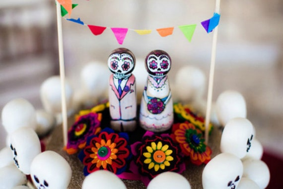 Day of the Dead Felt Bouquet Cake Topper - Custom Peg People