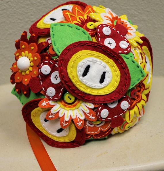 Fireflower Themed Felt Bouquet