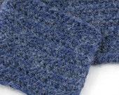 Classic Denim Indigo Blue Alpaca Blend Crochet Scarf ... awesome for men or women