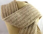 Cafe Au Lait light brown Alpaca Blend Crochet Scarf ... awesome for men or women