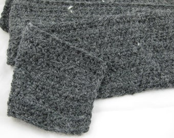 Ebony Charcoal Alpaca Blend Crochet Scarf ... awesome for men or women