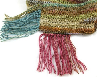 Spring Butterfly ... an Exquisite Silk Blend Multicolor Crochet Scarf made with Noro Silk Garden Japanese yarn