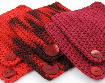Be My Valentine Blood Red Wine set of six cotton crocheted coasters