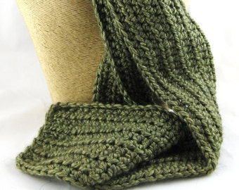 Fern Fantasy Olive Green Alpaca Blend Crochet Scarf ... awesome for men or women