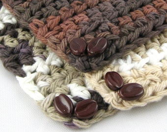 Coffee House II set of three cool cotton crochet coffee bean coasters