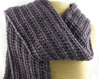French Lavender medium purple Alpaca Blend Crochet Scarf ... awesome for men or women